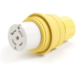Woodhead 27W83MB Watertite Wet Location Locking Blade Connector For Male Receptacle, 3-Phase, 5 Wires, 4 Poles, NEMA L23-20 Configuration, Yellow, 20A Current, 347/600V Voltage