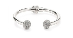 Cuff End Bangle Made with Swarovski Elements in 18K White Gold Plating