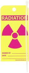 "NMC RPT85 ""RADIATION"" Accident Prevention Tag, Unrippable Vinyl, 3"" Length, 6"" Height, Red/Pink on Yellow (Pack of 25)"