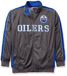 NHL Edmonton Oilers Men's Reflective Track Jacket, 2X, Charcoal/Royal