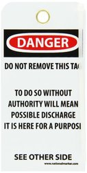 "NMC RPT1G ""DANGER - DO NOT OPERATE"" Accident Prevention Tag with Brass Grommet, Unrippable Vinyl, 3"" Length, 6"" Height, Black/Red on White (Pack of 25)"