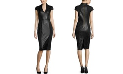 Alexia Admor Short Sleeve Fitted Leather Dress - Black - Size: XSmall
