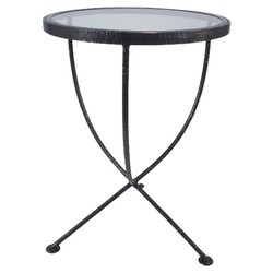 Threshold Round Metal & Glass Accent Table - Grey