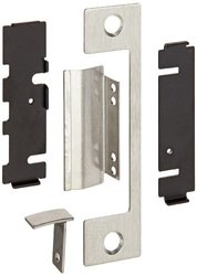 """HES Stainless Steel T Faceplate for 1006 Series Electric Strikes for Mortise Lockset with 1"""" Deadbolt and Center-Lined Deadlatch, Satin Stainless Steel Finish"""