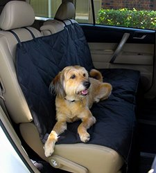 Pet Seat Cover for Cars - Easy to Clean Quilted Waterproof Material, Velcro Seat Belt Openings, Non Slip Silicone Backing and Seat Anchors. Universal Protector for Cars, Trucks and SUV's. Supports Bench and Hammock Setups for Dog.