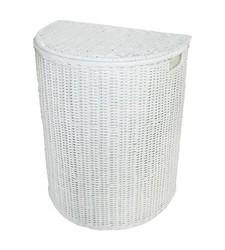 Pillowfort Lined Rattan Half Moon Hamper - White