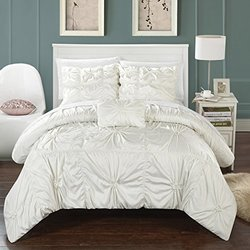 Chic Home 4 Piece Hamilton Floral Pinch Pleat Ruffled Designer Embellished King Duvet Cover Set White