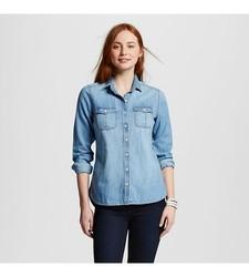 Mossimo Women's Denim Button Up Shirt - Blue - Size: XS