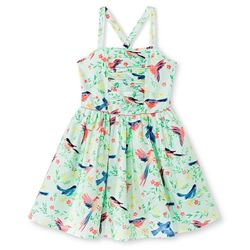 Cherokee Girl's Bird Print Dress - Mint - Size: Small