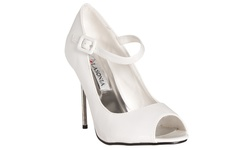 Riverberry Women's Peep Toe Mary Jane Stiletto Heels - White - Size: 7.5