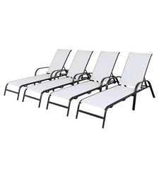 Room Essentials 4 Pack Stack Sling Patio Lounge Chair - White