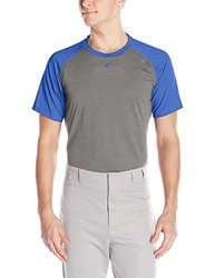 Easton Men's Short Sleeve Raglan Performance Shirt, Athletic Heather/Royal, Small