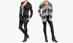 Sociology Chunky Pattern Cardigan - Black-Grey - Size: Small