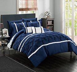 Chic Home Brentford Comforter Set (10-piece): Navy/queen