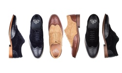 Royal Men's Tone-on-tone Wing Tip Dress Shoes - Black - Size: 13