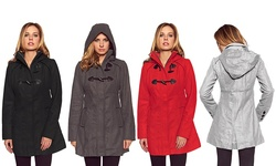 Women's Hooded Toggle Coat: Black/large