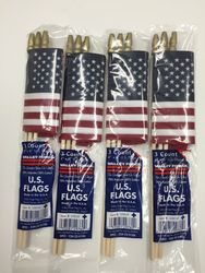 """Small Handheld American Flags Supply Party Favors - 3 Count - 4""""x 6"""""""