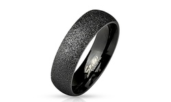 Dahlia Unisex Stainless Steel Glitter Comfort Fit Ring - Black - Size: 6