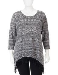 Women's Plus-Size Tribal Print Crochet Accent Top - Grey/Black - Size: 18