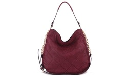 MKF Collection Dahlia Quilted Tote Handbag - Burgundy