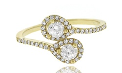 14K Gold Wrap Ring with Micro Pave Cubic Zirconia - Size: 7