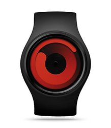 Ziiiro Unisex Gravity Watch - Black Rubber Strap Band Red Dial