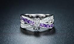 Sevil 18k WG Plated & Purple Cubic Zirconia Crisscross Ring - Size: 5