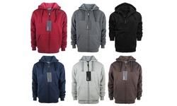Lee Hanton Men's Sherpa Lined Fleece Hoodies - Light Grey - Size: XXL