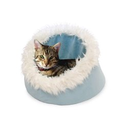Small Blue Feline Cat Comfort Cavern Pet Bed