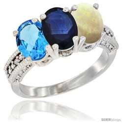 10K White Gold Women's Diamond Blue Sapphire Ring Oval 3-Stone