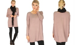 Lyss Loo Women's Long Sleeve Tunic Top - Mocha - Size: S-M