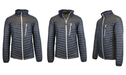 Spire by Galaxy Men's Lightweight Puffer Jacket - Charcoal/White - Size: M