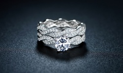 Sevil 18k White Gold Cubic Zirconia Braided Engagement Ring Set - Size: 6