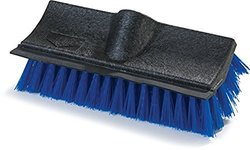 "Carlisle 3619014 Flo-Pac Dual Surface Plastic Block Floor Scrub with Rubber Squeegee, Polypropylene Bristles, 10"" Length x 4-1/2"" Width x 3-1/2"" Height Block, Blue Bristles (Pack of 12)"