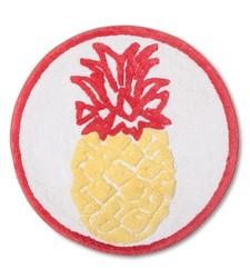 "Sabrina Soto Pineapple Bath Rug - White/Raspberry Swirl - Size: 25"" x 25"""