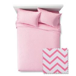 Pillowfort 170 TC Chevron Sheet Set - Pink Taffy - Size: Full