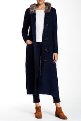 Cliche Couture Faux Fur Trim Sweater Coat - Navy - Size: Medium