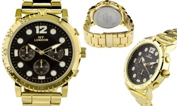 NY London Granados Men's Watch - Gold Band/Black Dial