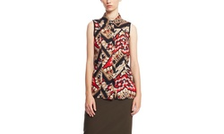 Zac and Rachel Aztec Print Sleeveless Blouse - Black Red - Size: XL