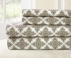 100-percent Cotton Printed 4-piece Casablanca Sheet Set - Stone - Sz: Full