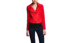 Lucy Paris Women's Long Sleeve Cropped Moto Jacket - Red - Size: Medium