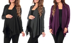 Women's Draped Hacci Maternity Cardigan - 3 Pk - Black/Charcoal/Eggplant/S