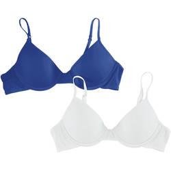 Hanes Glisten Girl's Padded Underwire Bra 2 Pack - White/Navy - Size: 34
