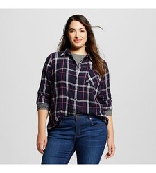Ava & Viv Women's Plaid Button Down Shirt - Navy - Size: XL