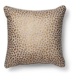 "Threshold Metallic Cheetah Print Throw Pillow - Gold - Size: 20"" x 20"""