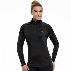 Copper Fit Women's Half-Zip Raglan Workout Top - Black - Size: L