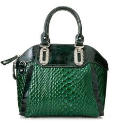 Madi Claire Women's Madelyn Reptile Embossed Handbag - Green - Size: One