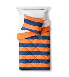 Pillowfort 2 Pc Rugby Stripe Comforter Set - Orange/Navy - Size: Twin