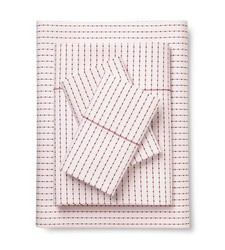 Brooklyn & Bond 3 Pc Poplar Dot Sheet Set - White/Red - Size: Queen