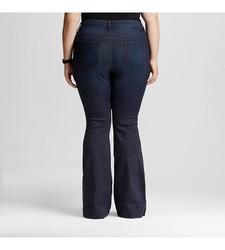 Ava & Viv Women's Solid Flare Jeans - Dark Blue - Size: 20W